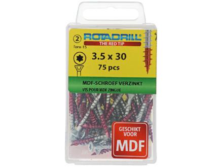 Rotadrill MDF-schroeven TX15 30x3,5 mm verzinkt 75 stuks