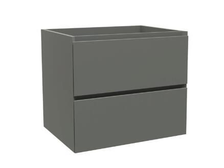 Max meuble lave-mains 60cm 2 tiroirs gris mat