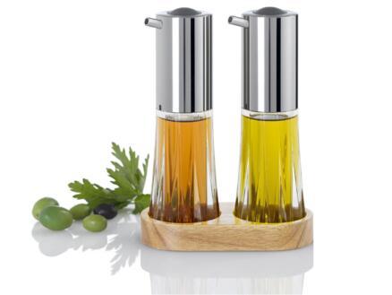 Menage Crystal distributeur d'huile/vinaigre 2 pièces + support