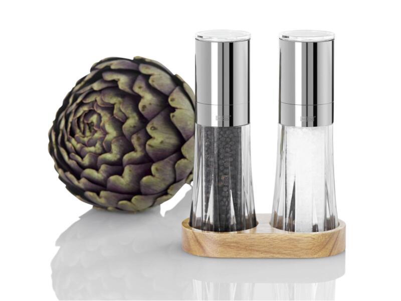 Menage Crystal moulin à poivre et moulin à sel + support