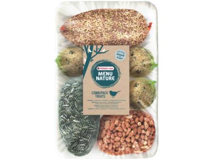 Menu Nature Combipack Treats mezenbollen/pinda's/zonnebloempitten/vetstaafje in net 1kg 8 stuks