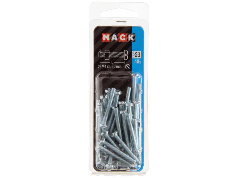 Mack Metaalschroeven met moer 30x4 mm verzinkt 40 stuks