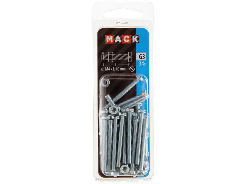 Mack Metaalschroeven met moer 40x4 mm verzinkt 34 stuks