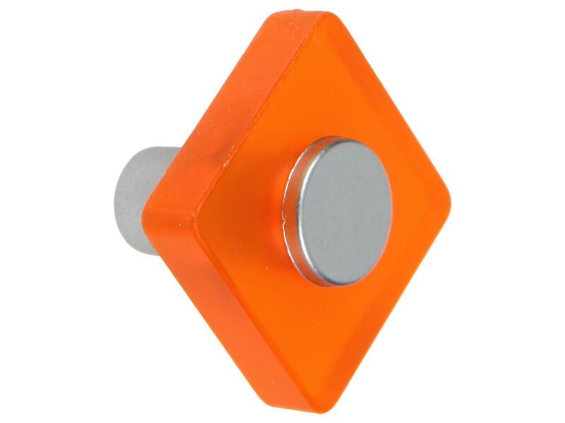 Sam Meubelknop vierkant kunststof oranje 2 stuks