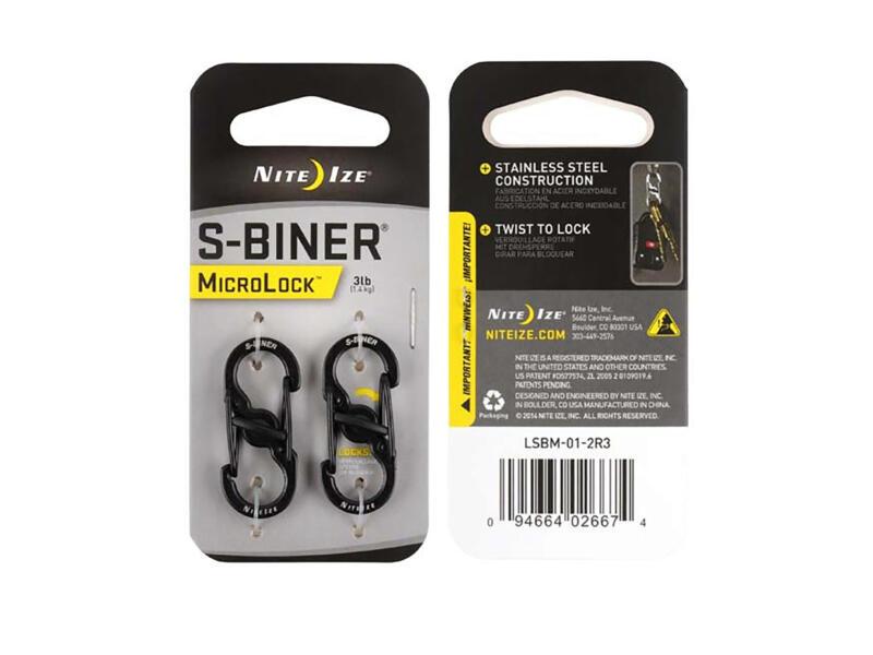 Nite Ize MicroLock S-Biner S-karabijnhaak 15,24x35,56 mm inox zwart 2 stuks