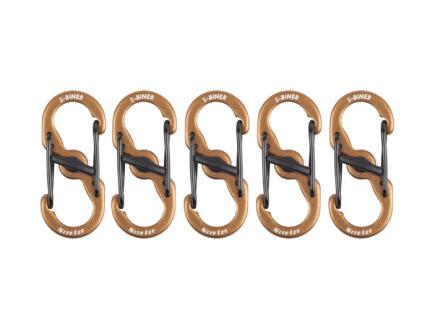 Nite Ize MicroLock S-Biner S-karabijnhaak 72,90x16,76 mm aluminium bruin 5 stuks