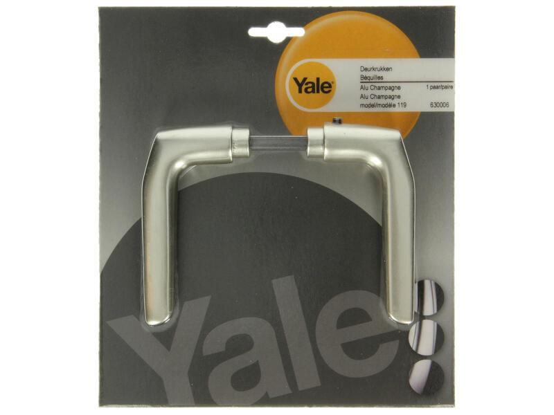 Yale Model 119 deurklinkset aluminium champagne