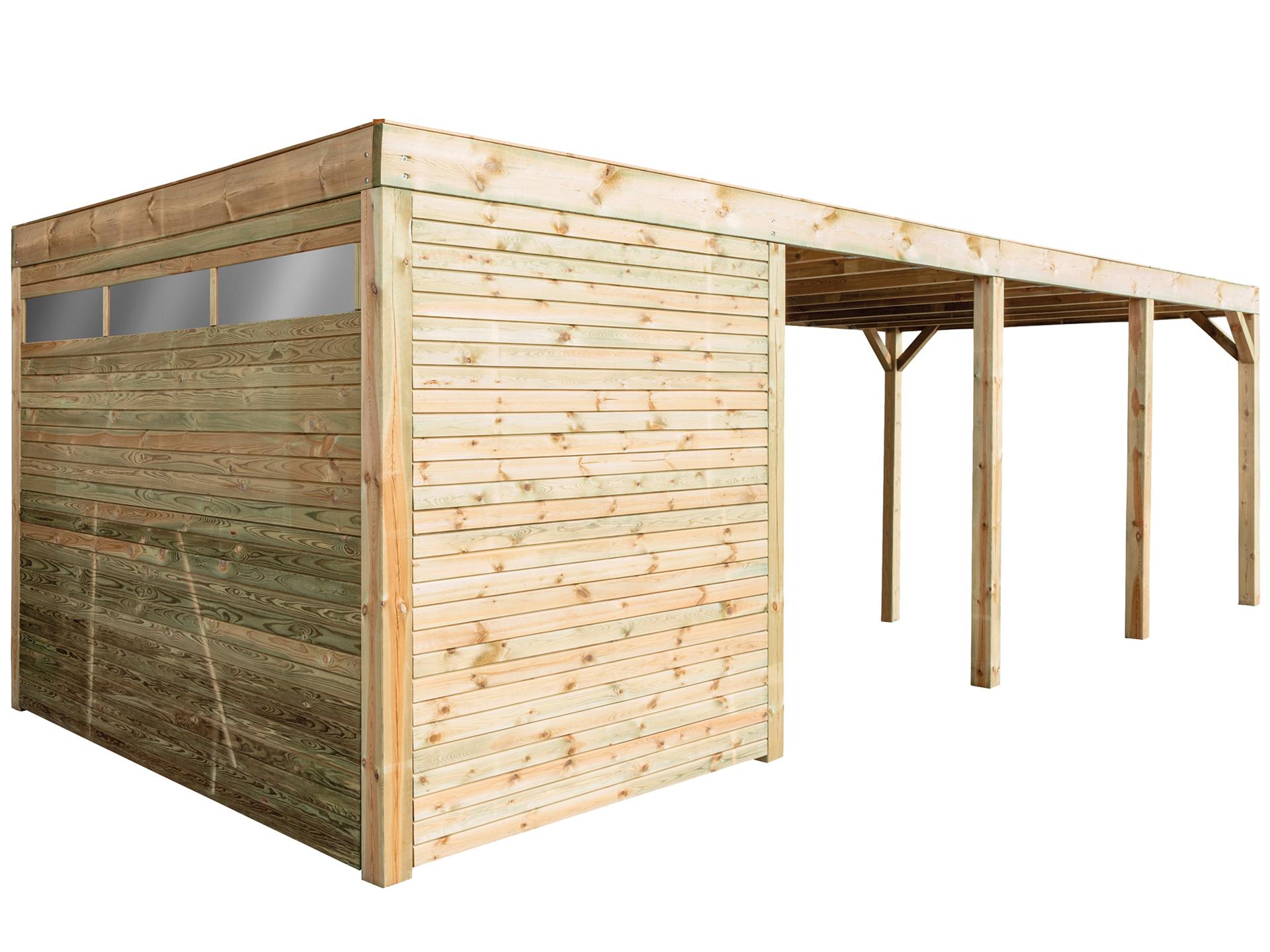 modena carport 324x780 cm berging hout hubo