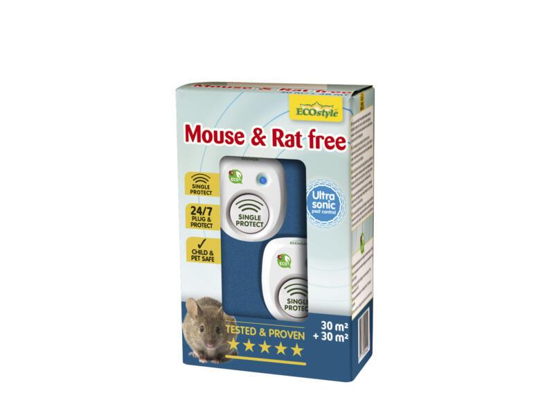 Mouse & Rat Free répulsif rats et souris à ultrasons 30m² + 30m² duopack