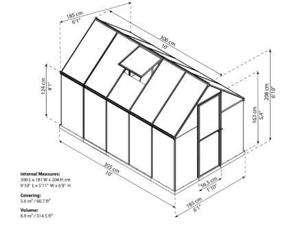 Palram Mythos serre 185x305x208 cm polycarbonaat