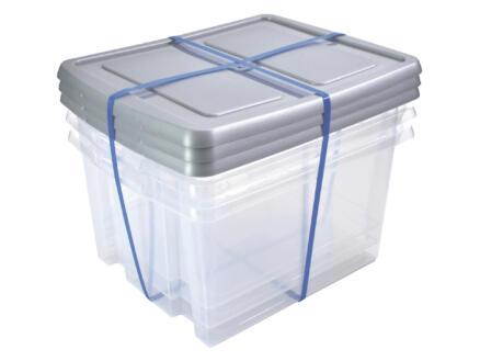 Sunware Nesta boîte de rangement 32l transparente couvercle gris argent