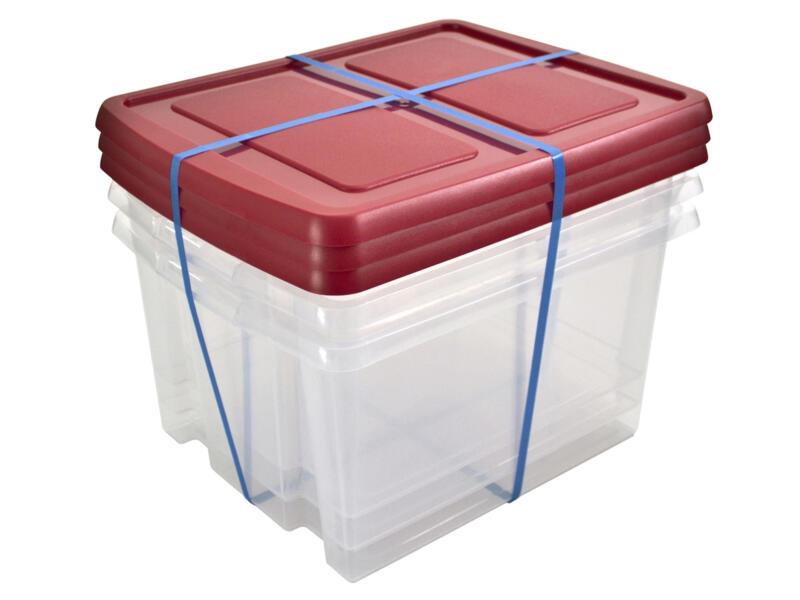 Sunware Nesta boîte de rangement 32l transparente couvercle rouge