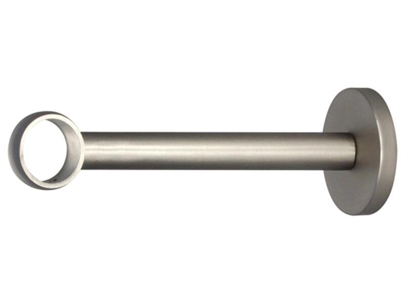 Noble muursteun gordijnroede 25mm 15cm inox look