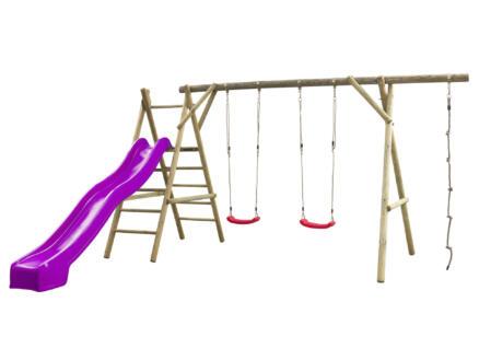 Noortje portique + toboggan violet avec raccordement d'eau