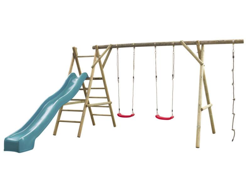 Noortje speeltoestel + glijbaan turquoise met wateraansluiting