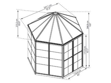 Palram Oasis serre hexagonale polycarbonate