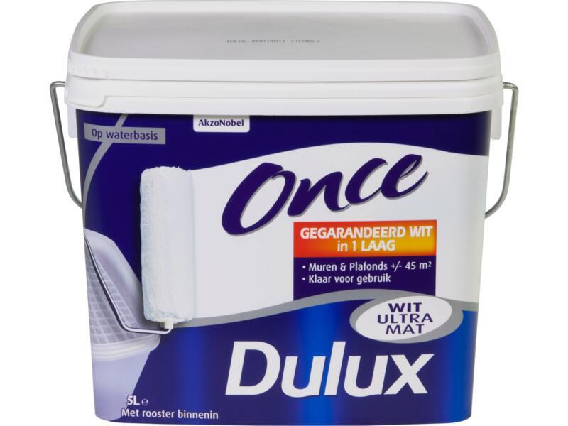 Dulux Once peinture mur & plafond mat 5l blanc