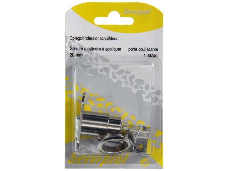 Oplegcilinderslot schuifdeur met lip 20mm