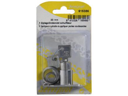 Oplegcilinderslot schuifdeur met pen 20mm