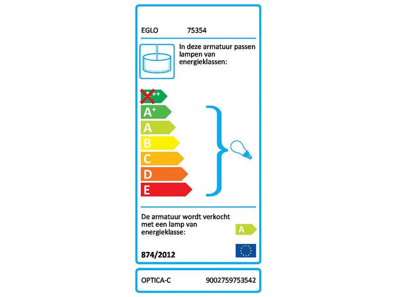 Eglo Optica LED hanglamp E27 max. 2x7,5 W nikkel + afstandsbediening mat wit