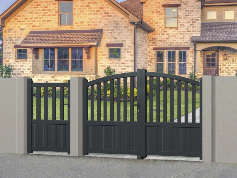 Orta dubbele poort 350x140 cm antraciet