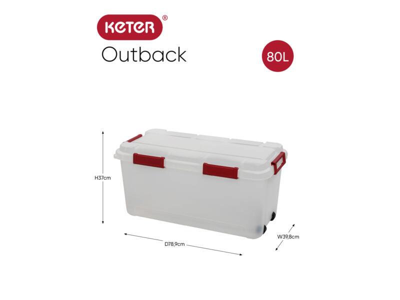 Outback opbergkoffer 80l transparant/rood