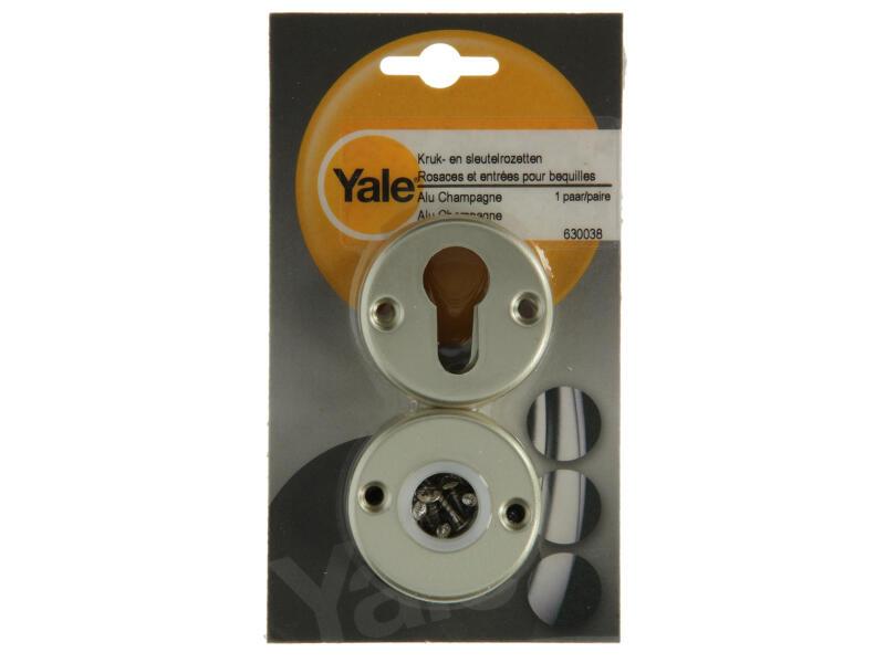 Yale PZ poignée de porte avec rosaces et entrée de clé 52mm set complet aluminium champagne