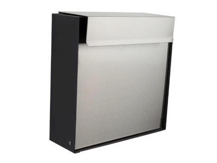 Perel Palermo brievenbus inox mat zwart
