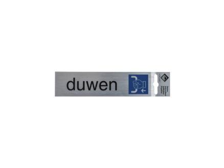 Panneau de porte autocollant duwen 17x4,4 cm look aluminium