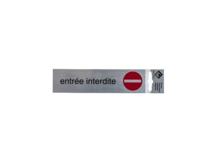 Panneau de porte autocollant entrée interdite 17x4,4 cm look aluminium