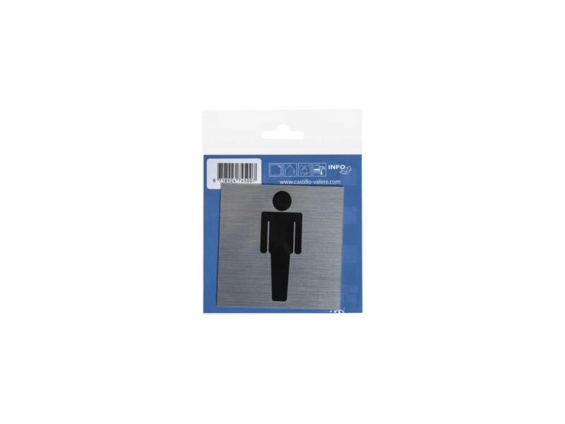 Panneau de porte autocollant hommes 8,5x8,5 cm look aluminium