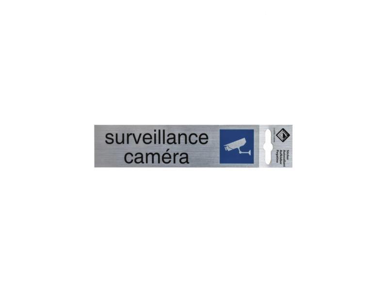 Panneau de porte autocollant surveillance caméra 17x4,4 cm look aluminium