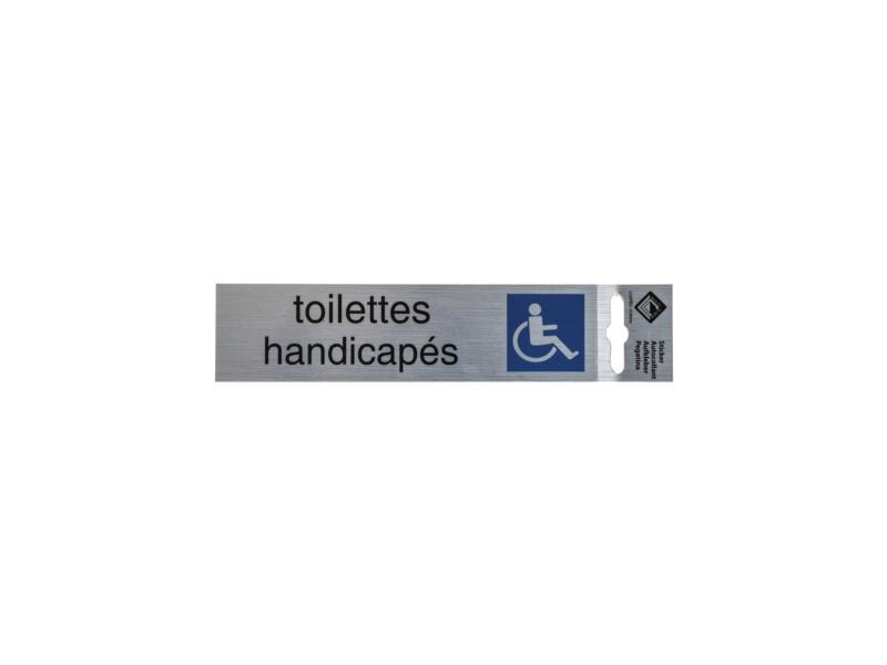 Panneau de porte autocollant toilettes handicapés 17x4,4 cm look aluminium