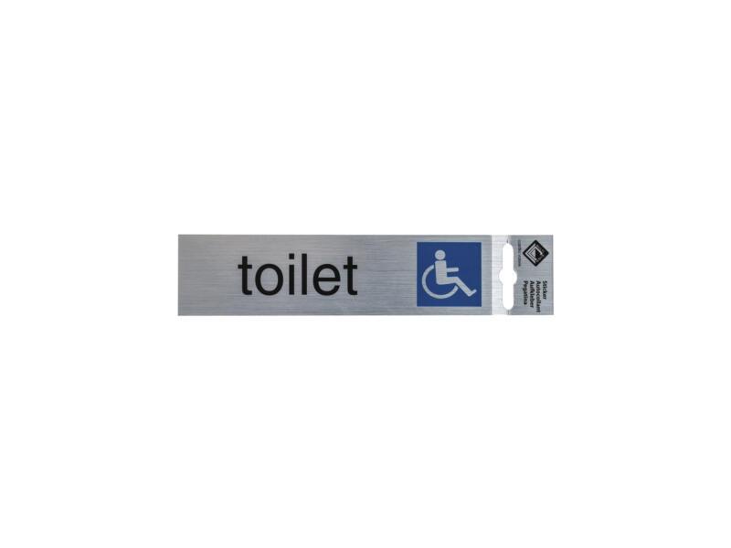 Panneau de porte autocollant toilettes pour utilisateur fauteuil roulant 17x4,4 cm look aluminium