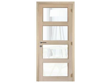 Solid Pannello Oak porte intérieure avec vitres 201x73 cm chêne brun clair