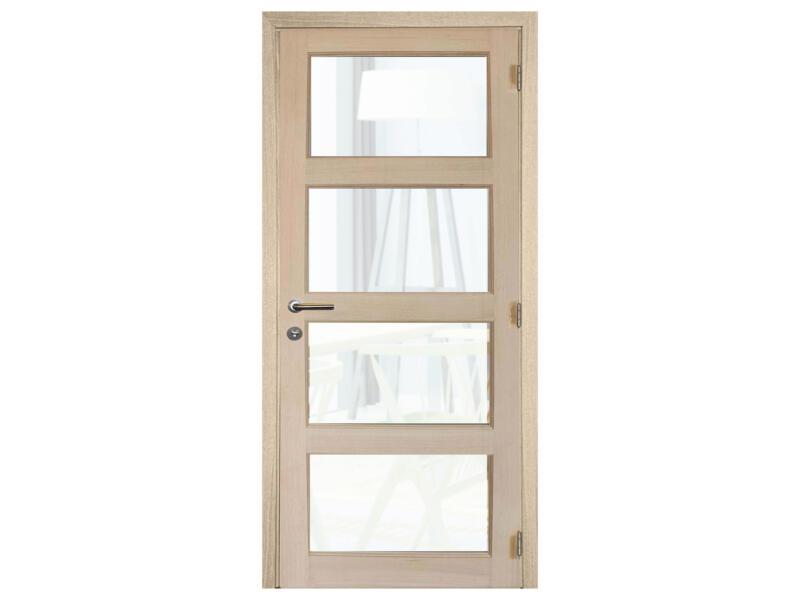Solid Pannello Oak porte intérieure avec vitres 201x78 cm chêne brun clair