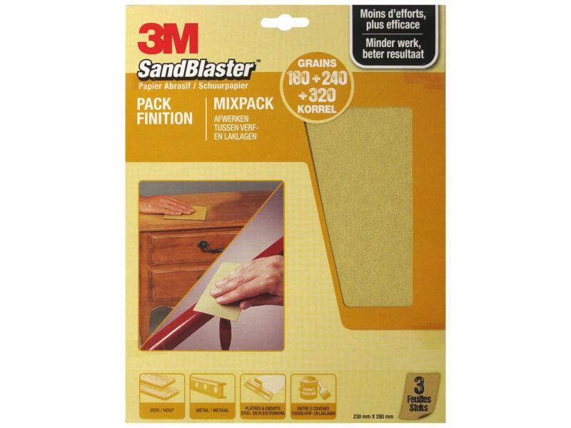 3M Papier abrasif assortiment fin or (3 pièces)