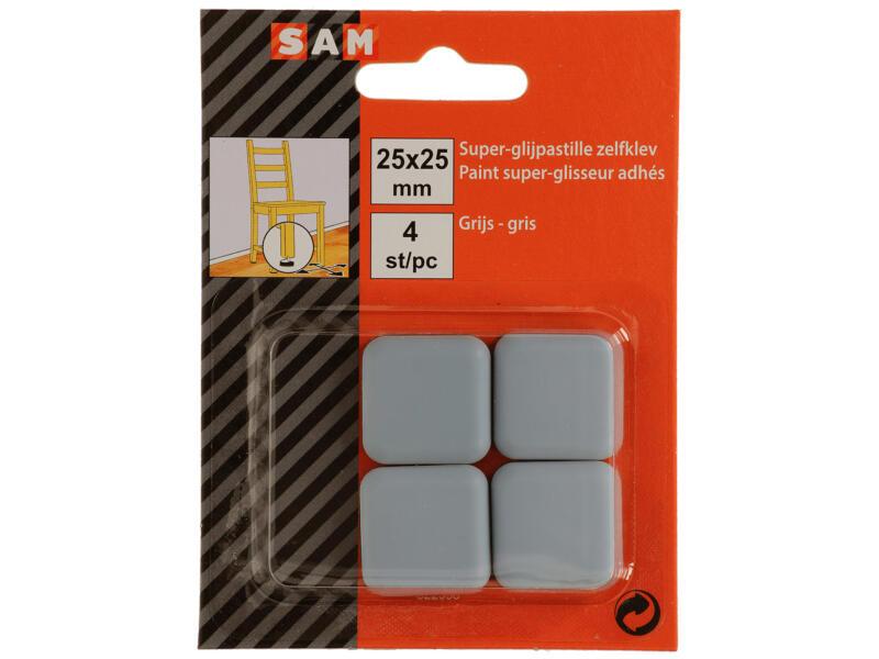 Sam Patin glissant 25x25 mm gris 4 pièces