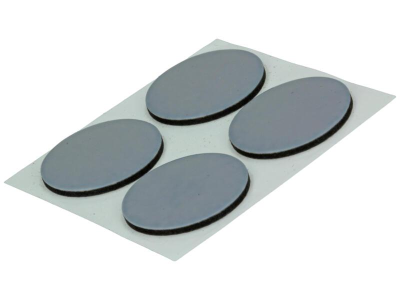 Sam Patin glissant plat 28mm gris 4 pièces
