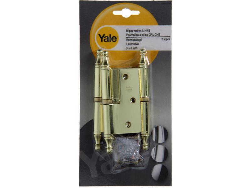 Yale Paumelle bille laiton 3x3 pouce gauche 3 pièces