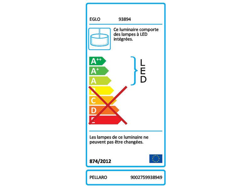 Eglo Pellaro LED suspension 30W dimmable nickel mat blanc