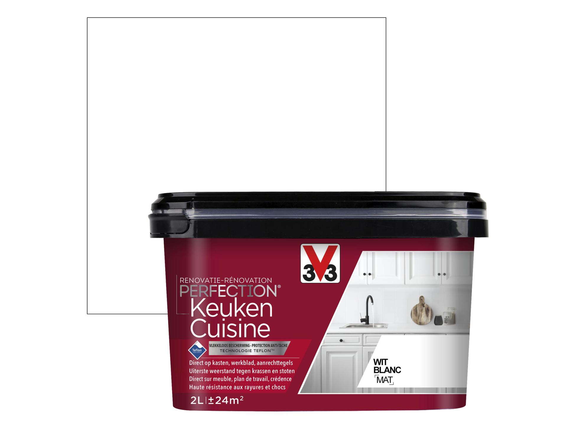 Nettoyer Meuble Cuisine Mat v33 perfection peinture rénovation cuisine mat 2l blanc