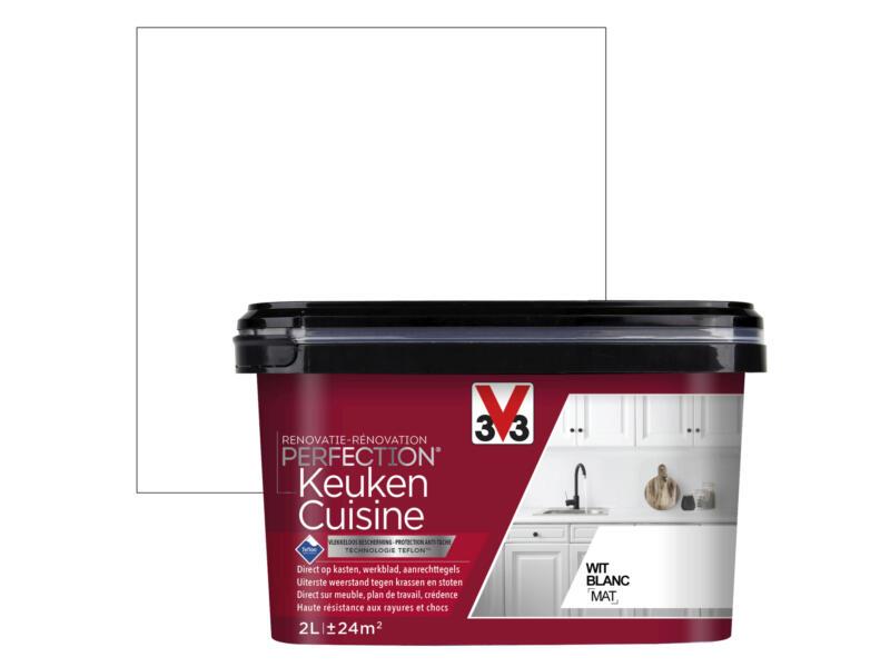 V33 Perfection Peinture Rénovation Cuisine Mat 2l Blanc Hubo