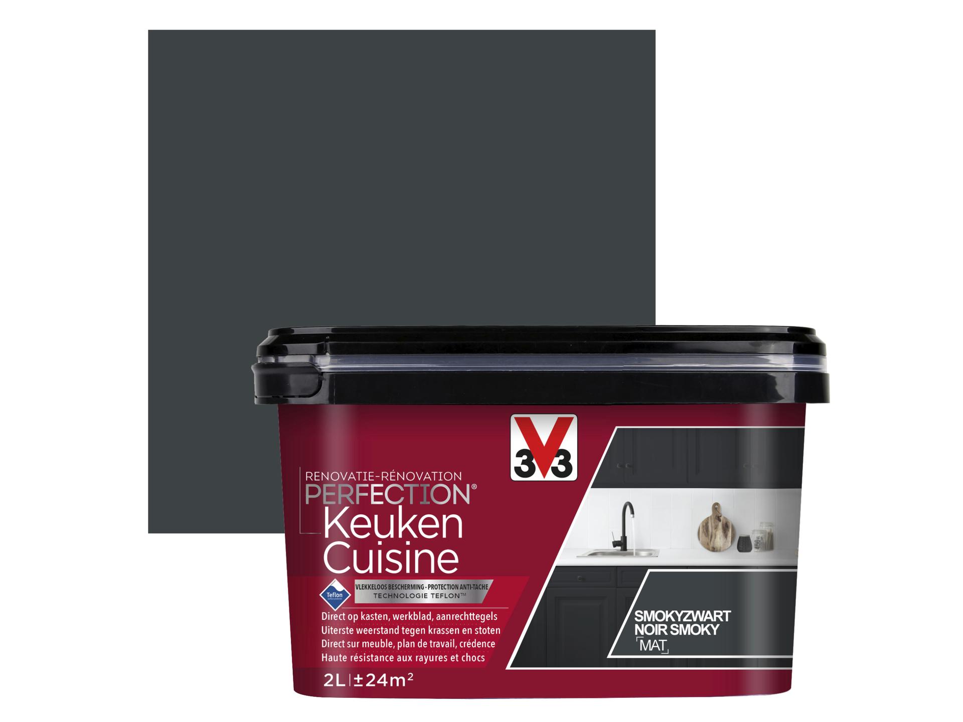 Nettoyer Meuble Cuisine Mat v33 perfection peinture rénovation cuisine mat 2l noir smoky
