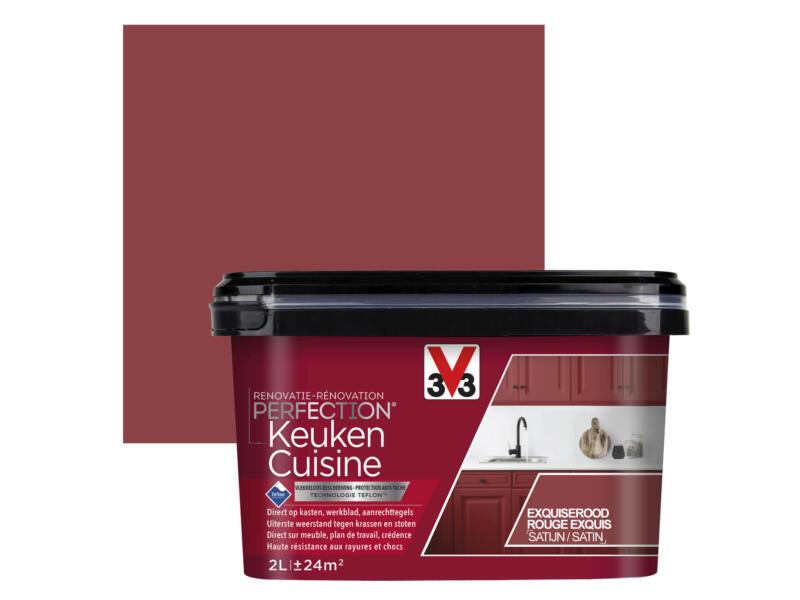 V33 Perfection Peinture Rénovation Cuisine Satin 2l Rouge Exquis Hubo