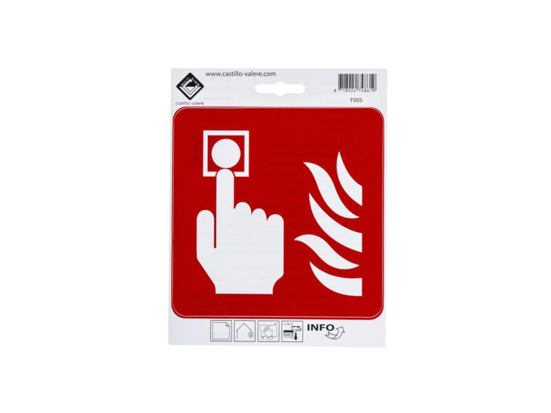 Pictogramme autocollant alarme d'incendie 15x15 cm