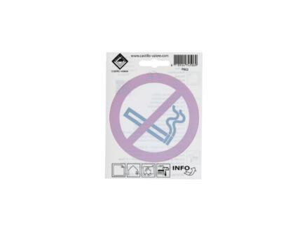 Pictogramme autocollant défense de fumer 10cm inversé