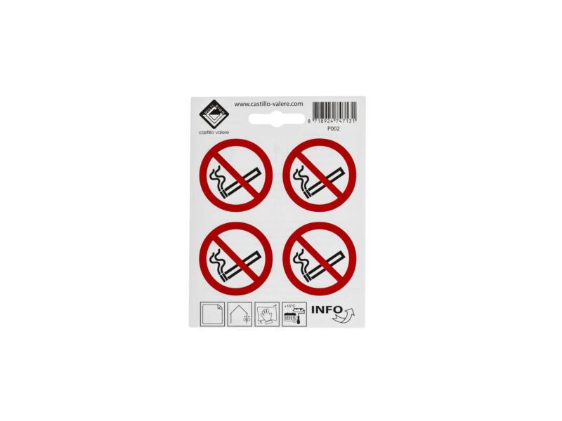 Pictogramme autocollant défense de fumer 4,7x4,7 cm 4 pièces