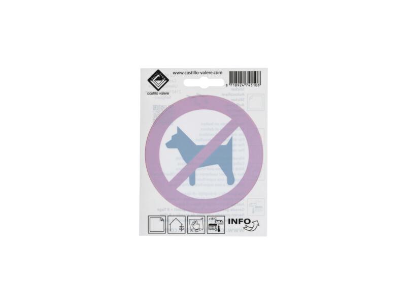 Pictogramme autocollant interdit aux chiens 10cm inversé