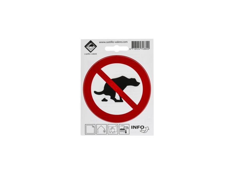 Pictogramme autocollant pas de crotte de chien 10cm
